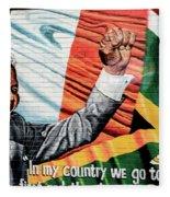 Belfast Mural - Mandella - Ireland Fleece Blanket