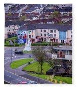 Belfast Mural - Derry Neighborhood - Ireland Fleece Blanket