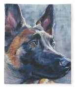 Belgian Malinois In Winter Fleece Blanket