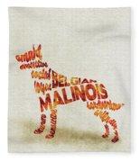 Belgian Malinois Watercolor Painting / Typographic Art Fleece Blanket