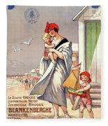 Belgium Ostende Vintage Travel Poster Restored Fleece Blanket