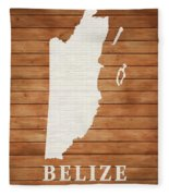 Belize Rustic Map On Wood Fleece Blanket