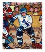 Bell Center Hockey Art Goalie Carey Price Makes A Save Original 6 Teams Habs Vs Leafs Carole Spandau Fleece Blanket