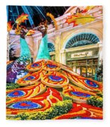 Bellagio Conservatory Fall Peacock Display Side View Wide 2 To 1 Ratio Fleece Blanket