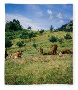 Bells And Cows Fleece Blanket