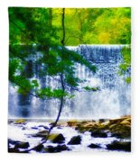 Below The Waterfall Fleece Blanket