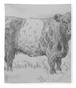 Belted Galloway Cow Pencil Drawing Fleece Blanket