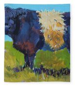 Belted Galloway Cow - The Blue Beltie Fleece Blanket