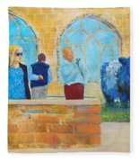 Belted Galloway Cows And People At Exeter Cathedral Fleece Blanket