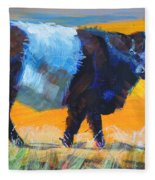 Belted Galloway Cow Side View Fleece Blanket