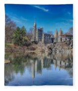 Belvedere Castle And Turtle Pond Fleece Blanket