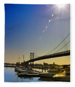 Ben Franklin Bridge From The Marina Fleece Blanket