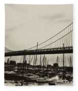 Ben Franklin Bridge From The Marina In Black And White. Fleece Blanket