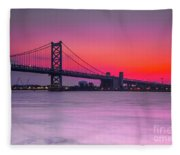 Ben Franklin Bridge - Sunrise Fleece Blanket