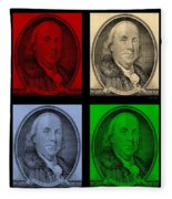 Ben Franklin In Colors Fleece Blanket