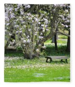 Bench Among Magnolia Fleece Blanket