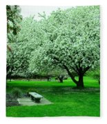 Bench Among.the Blossoms Fleece Blanket