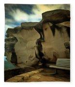 Bench And Huge Overhanging Rock Fleece Blanket