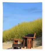 Bench At The Beach Fleece Blanket
