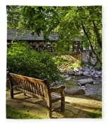 Bench By The Stream IIi Fleece Blanket