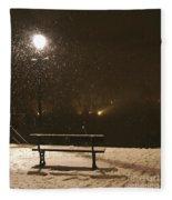 Bench For The Snowflakes Fleece Blanket