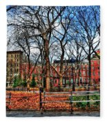 Bench View In Washington Square Park Fleece Blanket