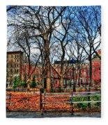 Bench View In Washington Square Park Fleece Blanket