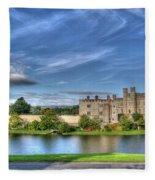 Bench View Of Leeds Castle Fleece Blanket