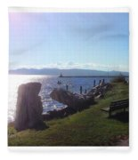 Benches Water Sun And Boat Fleece Blanket
