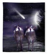 Beneath A Zebra Moon Fleece Blanket