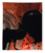 Beneath The Fire - Red And Black Painting Art Fleece Blanket