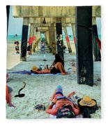 Beneath The Jacksonville Beach Pier  Fleece Blanket