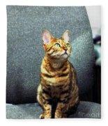 Bengal Cat Oil Pastel  Fleece Blanket
