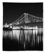 Benjamin Franklin Bridge - Black And White At Night Fleece Blanket