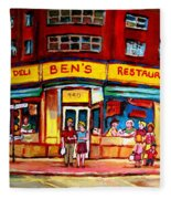 Ben's Delicatessen - Montreal Memories - Montreal Landmarks - Montreal City Scene - Paintings  Fleece Blanket