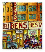 Ben's Famous Smoked Meat Montreal Memories Canadian Paintings Hockey Scenes And Landmarks  C Spandau Fleece Blanket