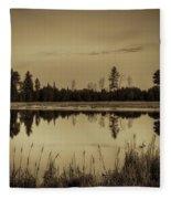 Bentley Pond Pines In Sepia Fleece Blanket