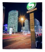 Berlin - Potsdamer Platz Square At Night Fleece Blanket