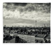 Berlin Skyline And Roofscape -black And White Fleece Blanket