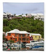 Bermuda Waterside Scene Fleece Blanket