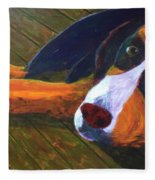 Bernese Mtn Dog On The Deck Fleece Blanket