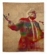 Bernie Sanders Watercolor Portrait Fleece Blanket