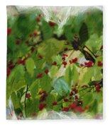 Berries And Leaves 51 Fleece Blanket