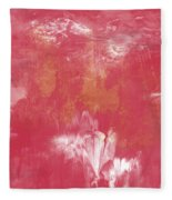 Berry And Gold- Abstract Art By Linda Woods Fleece Blanket