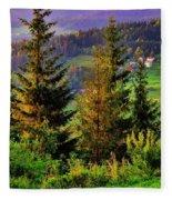 Beskidy Mountains Fleece Blanket