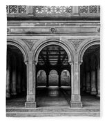 Bethesda Terrace Arcade 4 - Bw Fleece Blanket