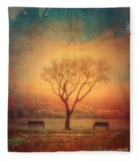 Between Two Benches Fleece Blanket