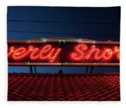 Beverly Shores Indiana Depot Neon Sign Panorama Fleece Blanket