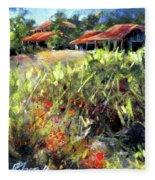 Beyond The Red Flowers Fleece Blanket