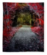Beyond The Red Leaves Fleece Blanket